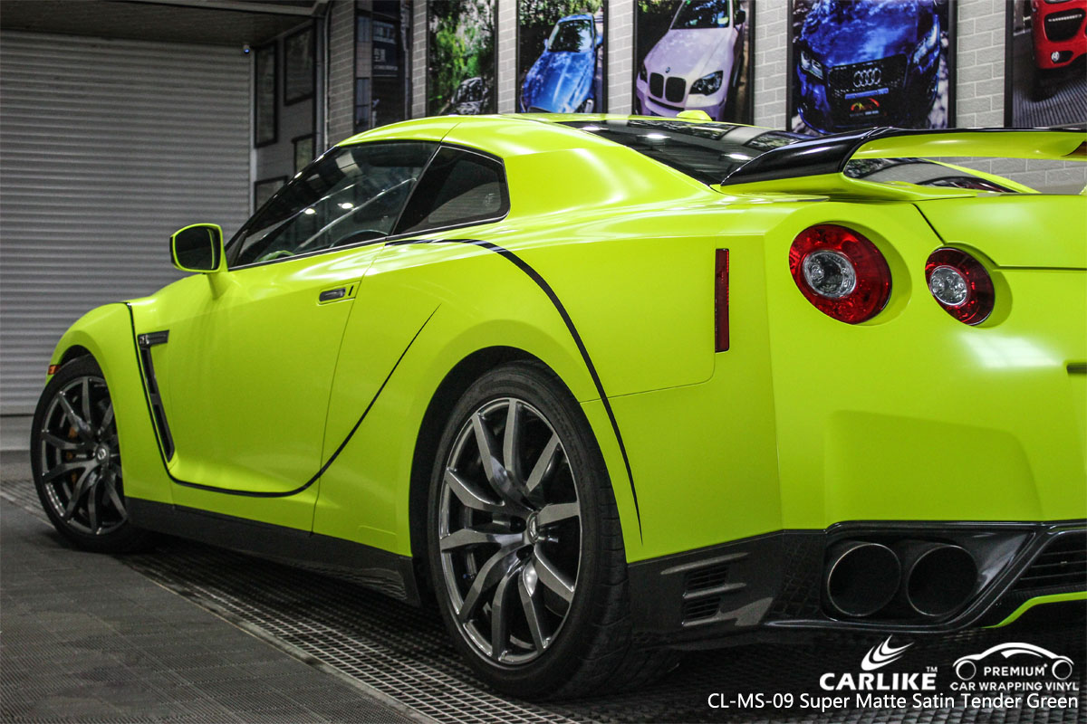 CARLIKE CL-MS-09 super matte satin tender green car wrap vinyl for GT-R
