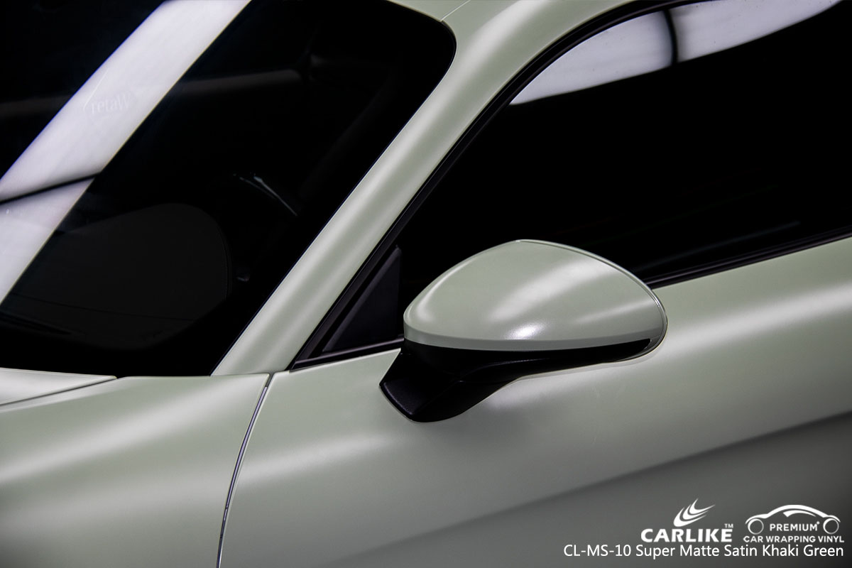 CARLIKE CL-MS-10 super matte satin khaki green car wrap vinyl for Porsche