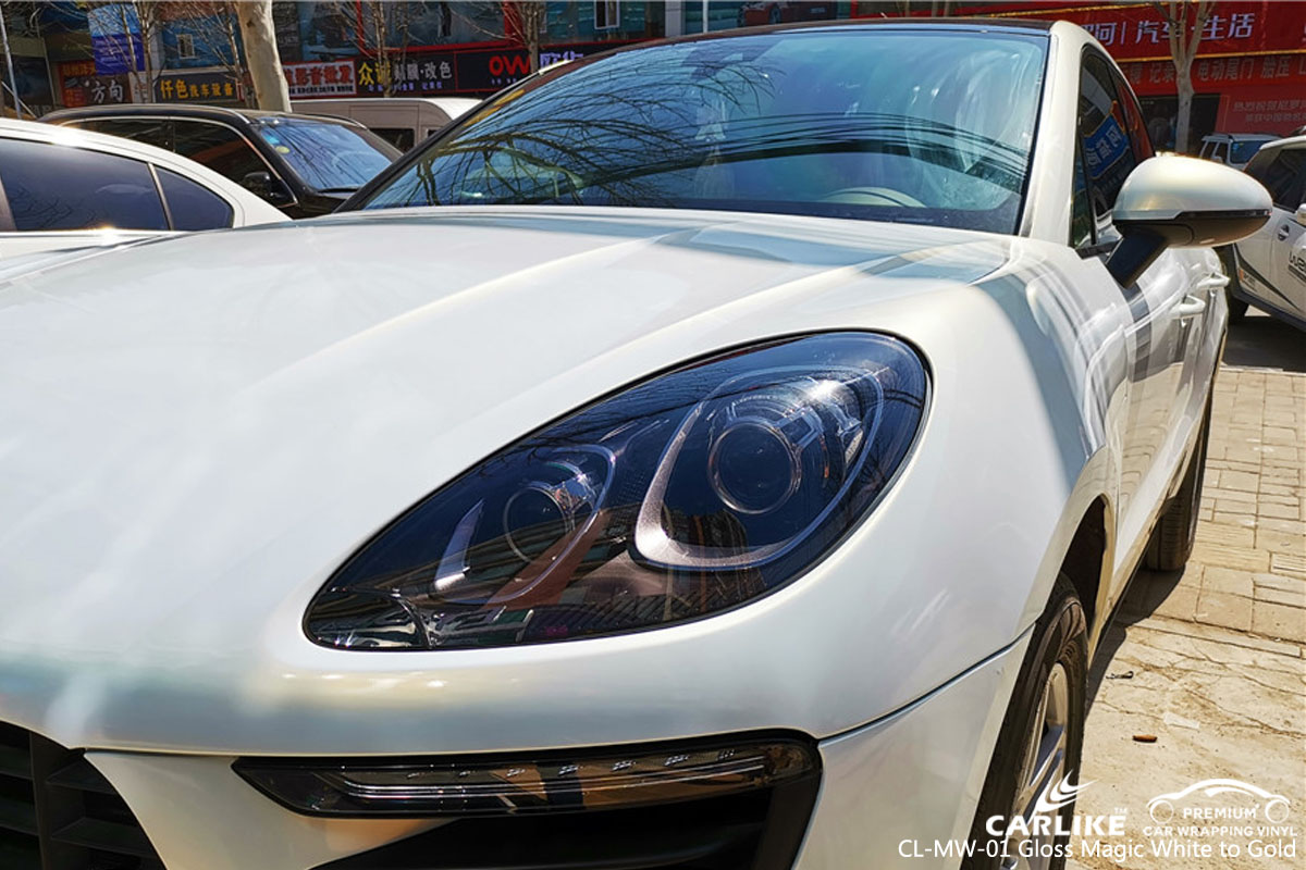CARLIKE CL-MW-01 gloss magic white to gold car wrap vinyl for Porsche