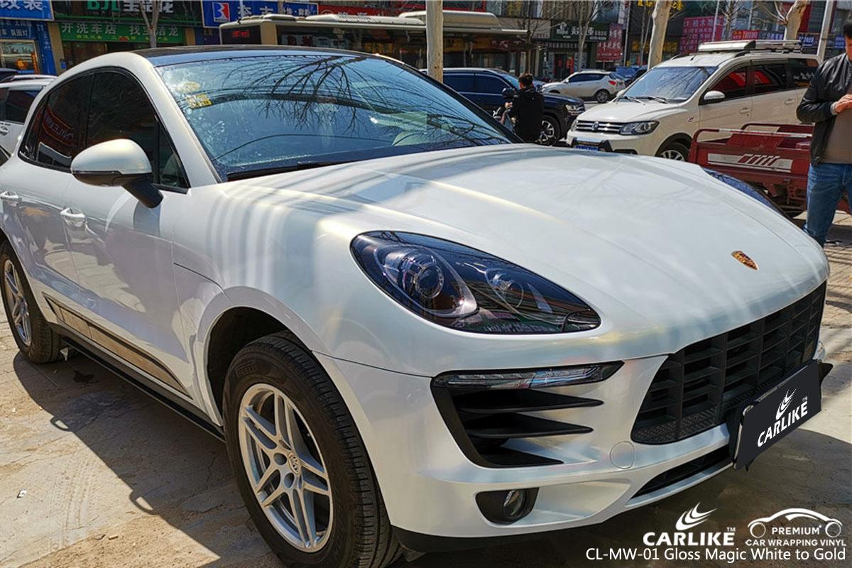 CARLIKE CL-MW-01 gloss magic white to gold car wrap vinyl for Porsche
