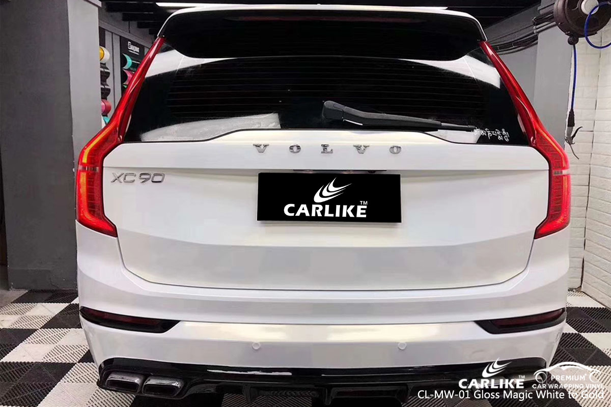 CARLIKE CL-MW-01 gloss magic white to gold car wrap vinyl for Volvo