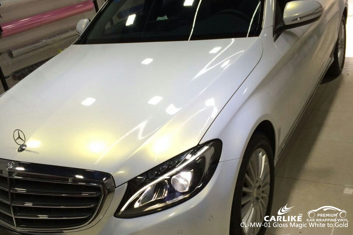 CARLIKE CL-MW-01 gloss magic white to gold car wrap vinyl for Mercedes-Benz