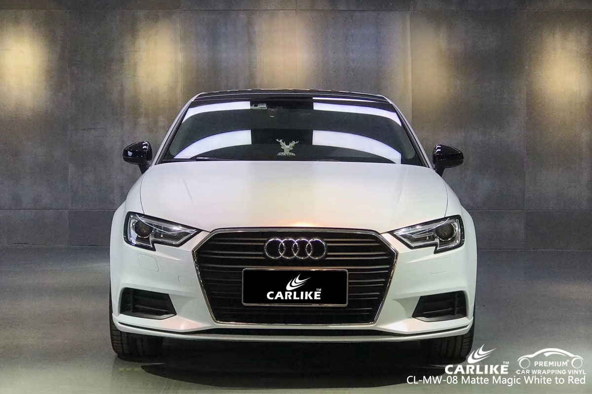 CARLIKE CL-MW-08 matte magic white to red car wrap vinyl ofr Audi