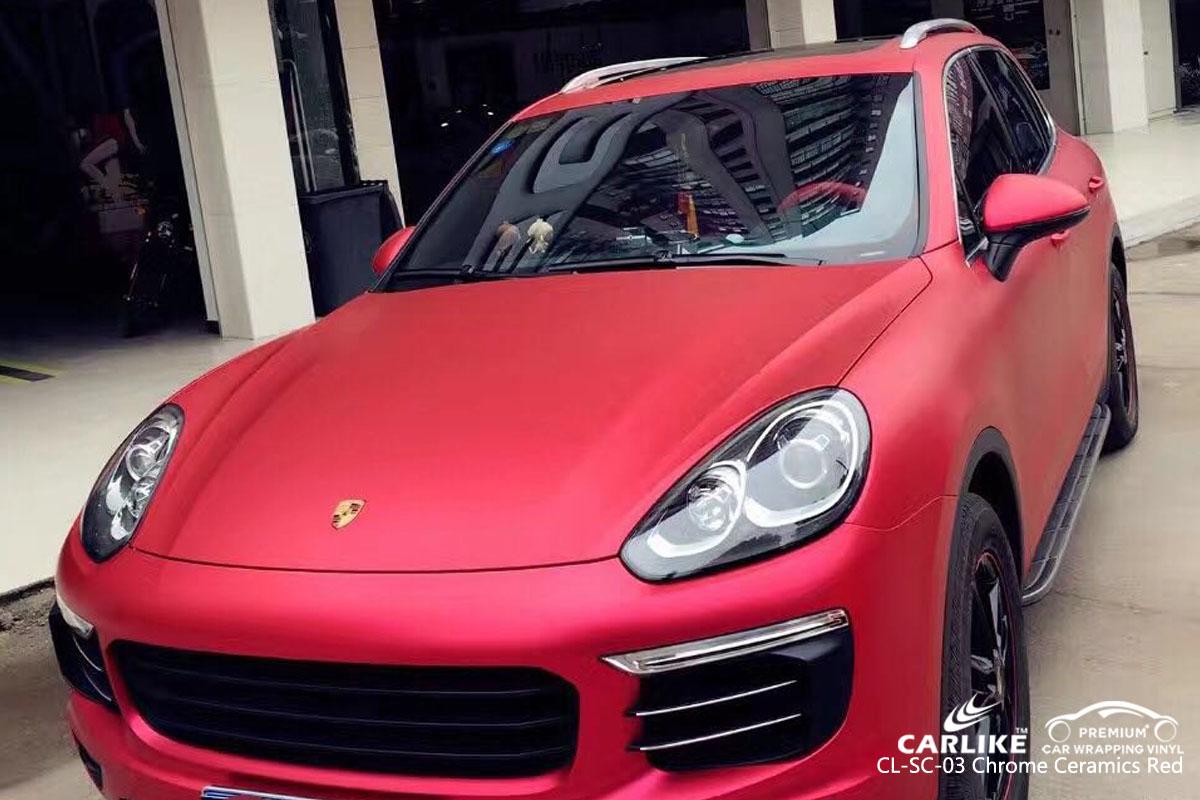 CARLIKE CL-SC-03 chrome ceramics red car wrap vinyl for Porsche