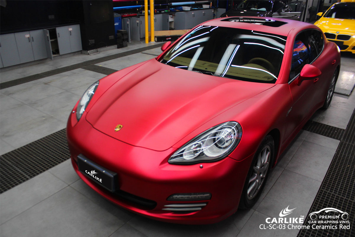 CARLIKE CL-SC-03 chrome ceramics red car wrap vinyl for Porsche
