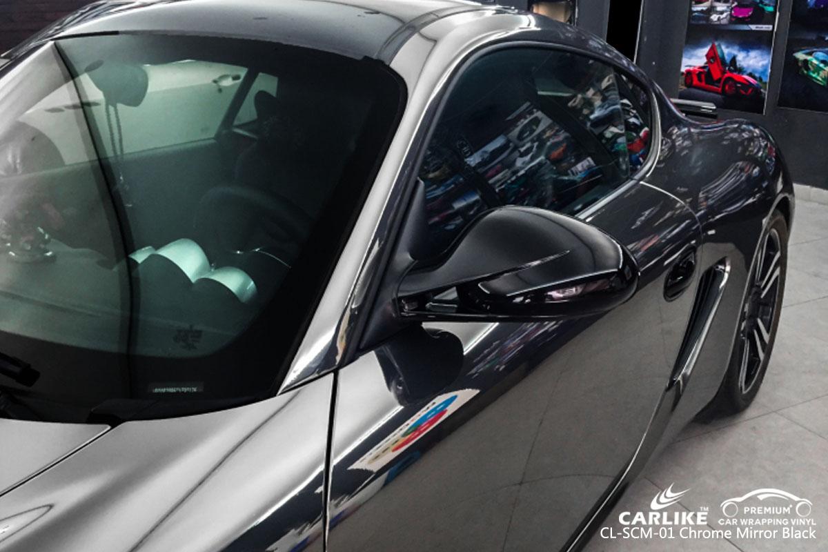 CARLIKE CL-SCM-01 chrome mirror black car wrapping vinyl for Porsche