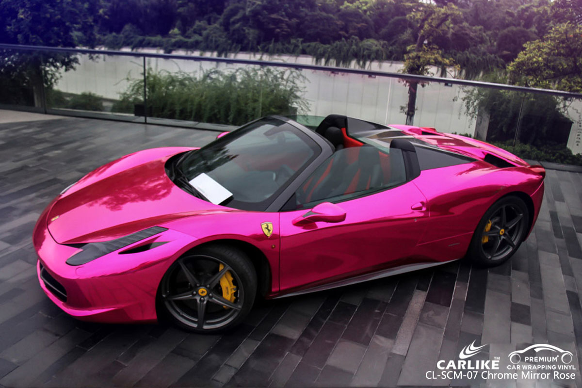 CARLIKE CL-SCM-07 chrome mirror rose car wrapping vinyl for Ferrari
