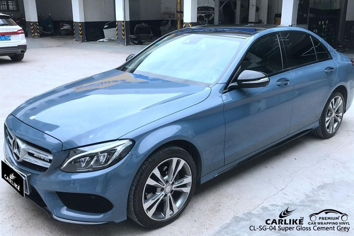 CARLIKE CL-SG-04 super gloss cement grey car wrap vinyl for Mercedes-Benz
