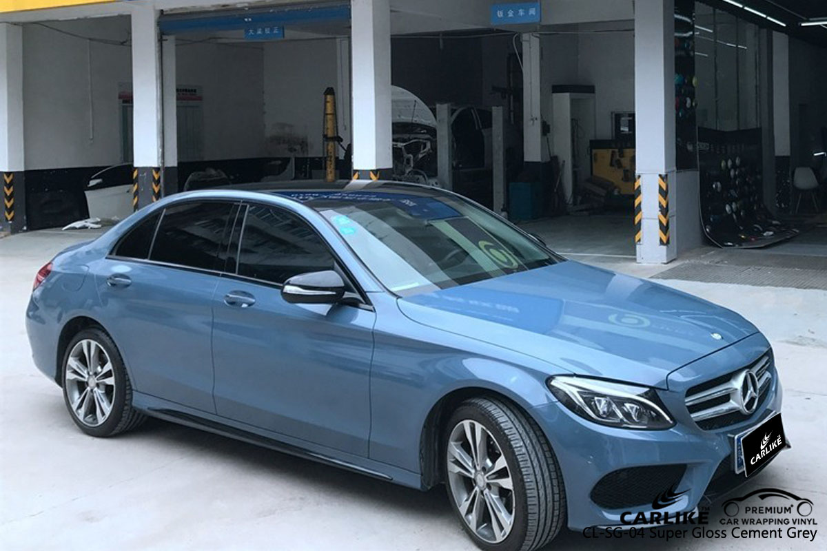 CARLIKE CL-SG-04 super gloss cement grey car wrap vinyl for Mercedes-Benz