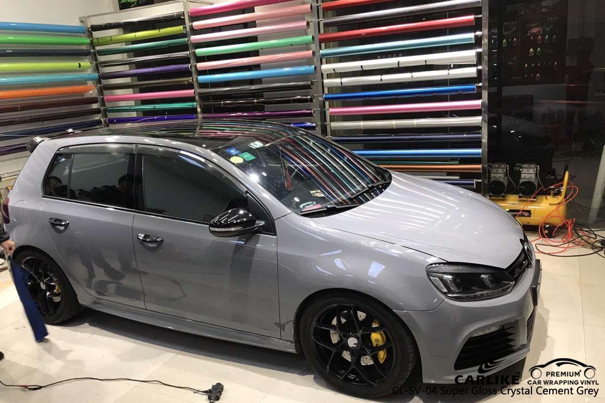 CARLIKE CL-SV-02 super gloss crystal cement grey car wrap vinyl for Volkswagen