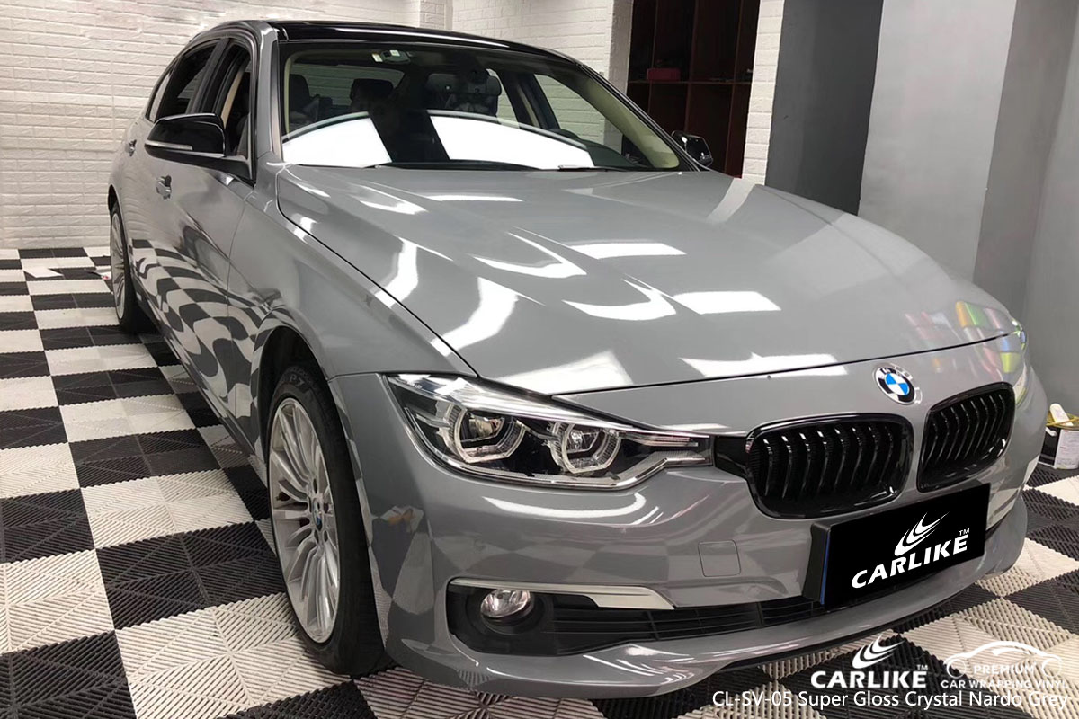 CARLIKE CL-SV-05 super gloss crystal nardo grey car wrap vinyl for BMW