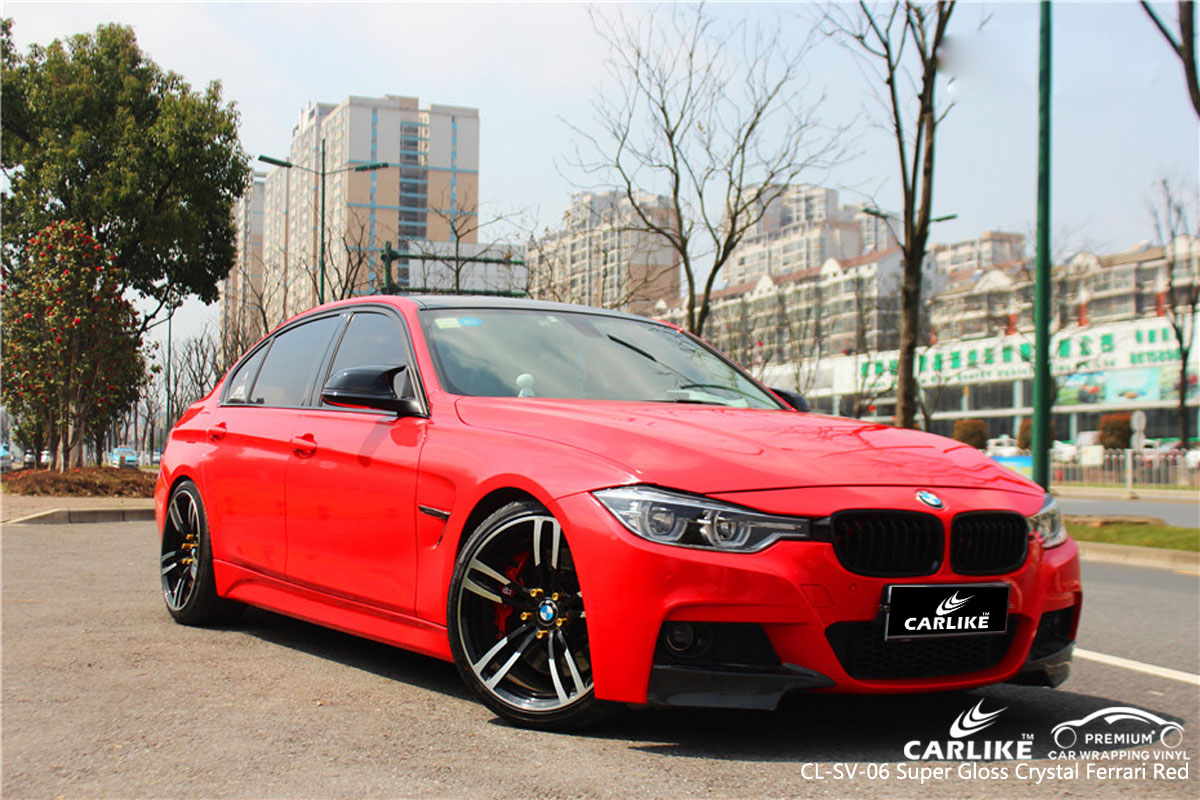 CARLIKE CL-SV-06 super gloss crystal ferrari red car wrap vinyl for BMW
