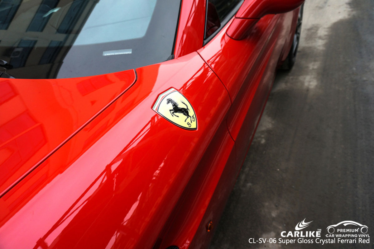 CARLIKE CL-SV-06 super gloss crystal ferrari red car wrap vinyl for Ferrari