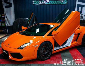 CARLIKE CL-SV-08 vinil do envoltório do carro do cristal super do brilho alaranjado para Lamborghini
