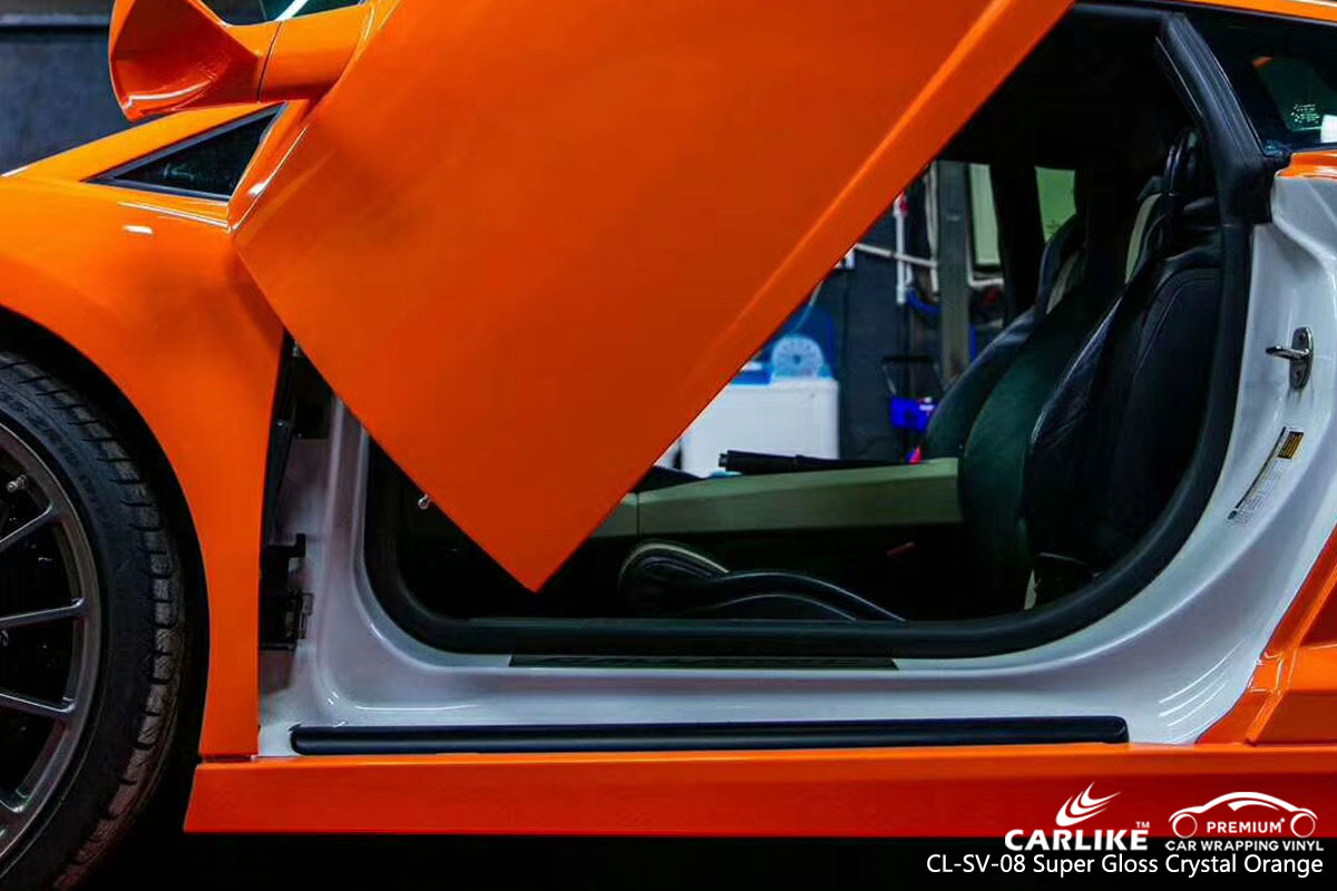CARLIKE CL-SV-08 super gloss crystal orange car wrap vinyl for Lamborghini
