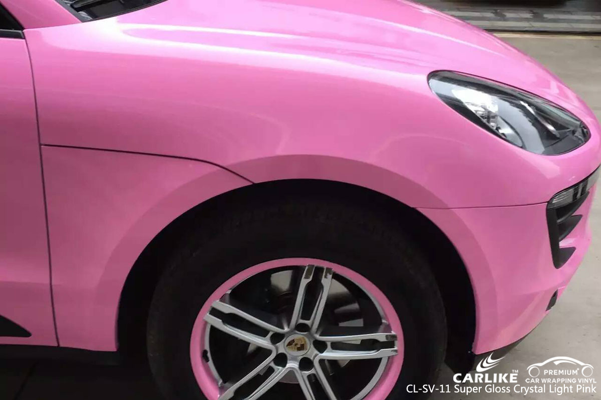 CARLIKE CL-SV-11 super gloss crystal light pink car wrap vinyl for Porsche