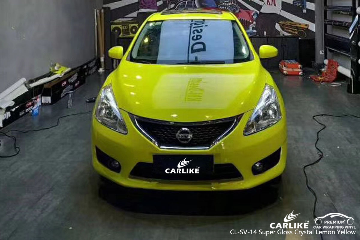 CARLIKE CL-SV-14 super gloss crystal lemon yellow car wrap vinyl for Nissan