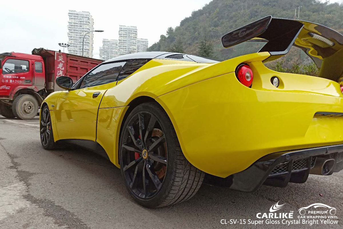 CARLIKE CL-SV-15 super gloss crystal bright yellow car wrapping vinyl