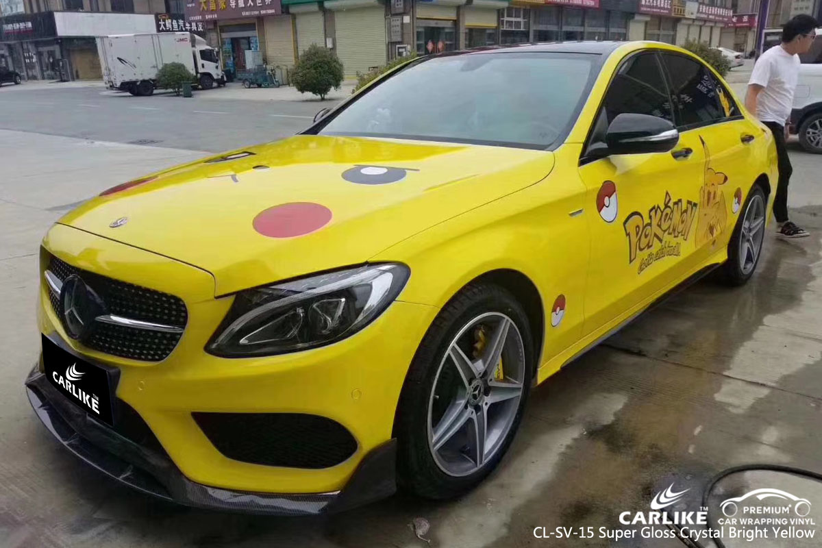 CARLIKE CL-SV-15 super gloss crystal brught yellow car wrap vinyl for Mercedes-Benz