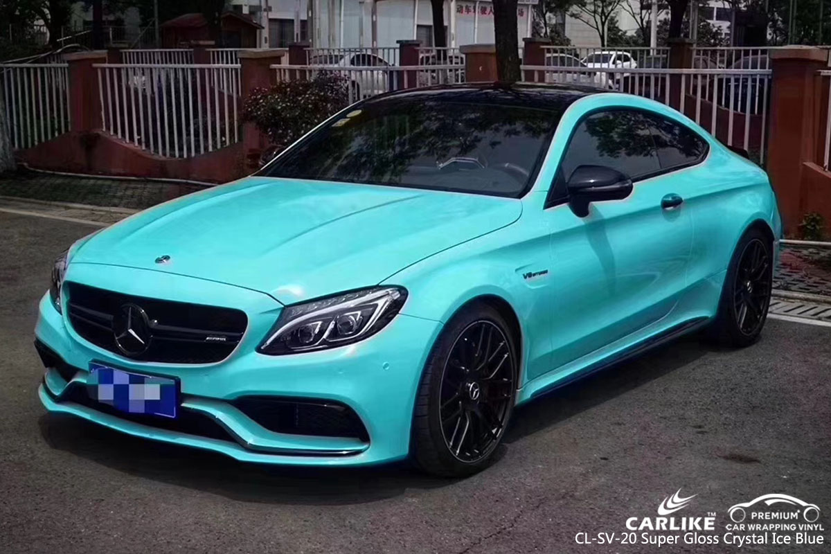 CARLIKE CL-SV-20 super gloss crystal ice blue car wrap vinyl for Mercedes-Benz