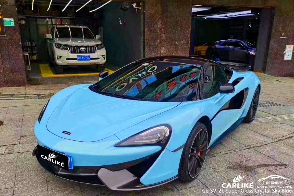 CARLIKE CL-SV-21 super gloss crystal sky blue car wrapping vinyl