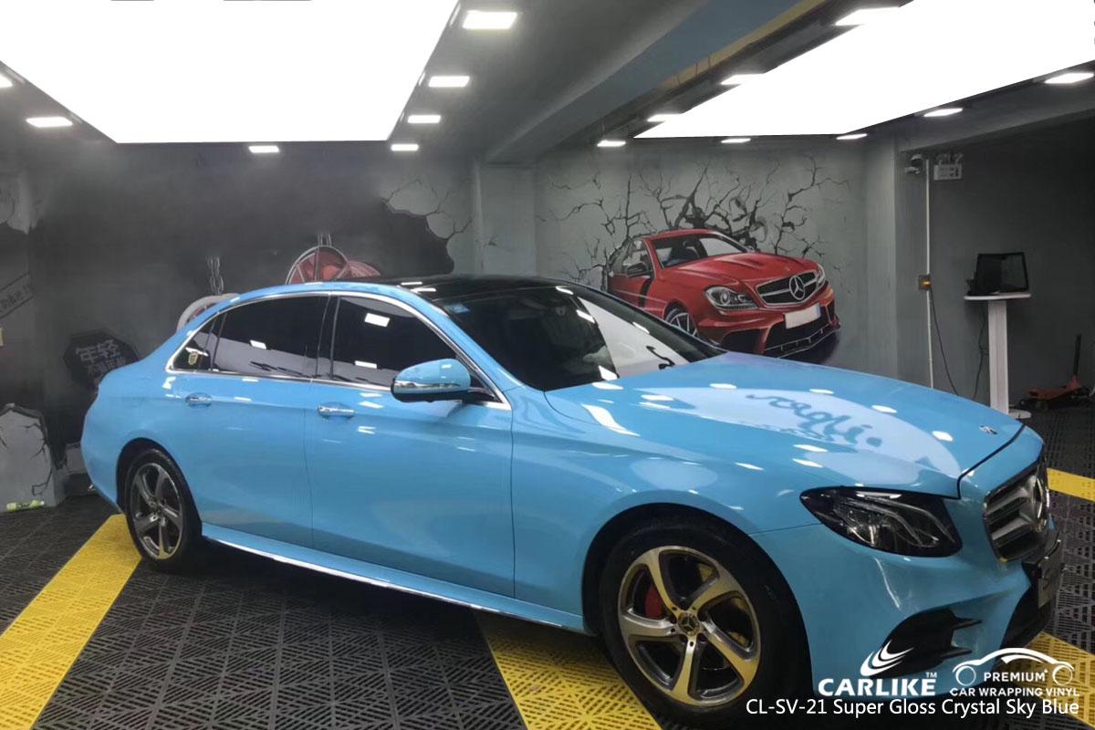 CARLIKE CL-SV-21 super gloss crystal sky blue car wrap vinyl for Mercedes-Benz