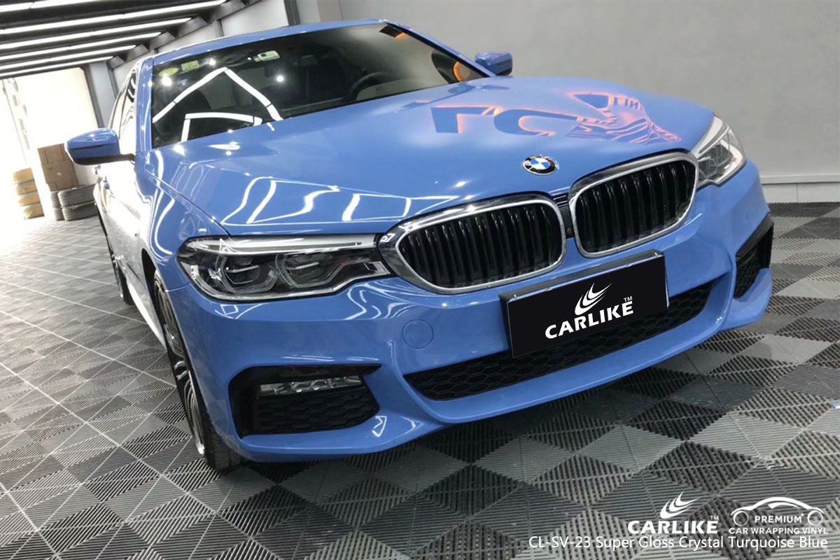 CARLIKE CL-SV-23 super gloss crystal turquoise blue car wrap vinyl for BMW