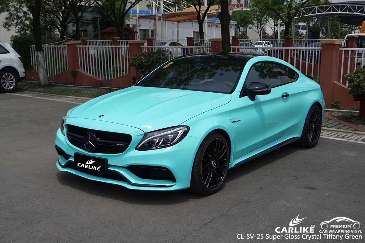 CARLIKE CL-SV-25 super gloss crystal tiffany green car wrap vinyl for Mercedes-Benz