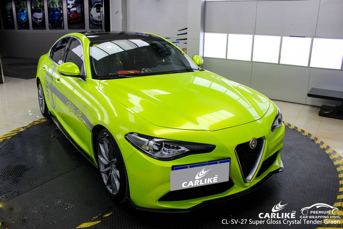 CARLIKE CL-SV-27 super gloss crystal tender green car wrap vinyl for Alfa Romeo