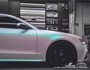 CARLIKE CL-AW-01 Vinilo envolvente mate aurora blanco a verde rojo para Audi