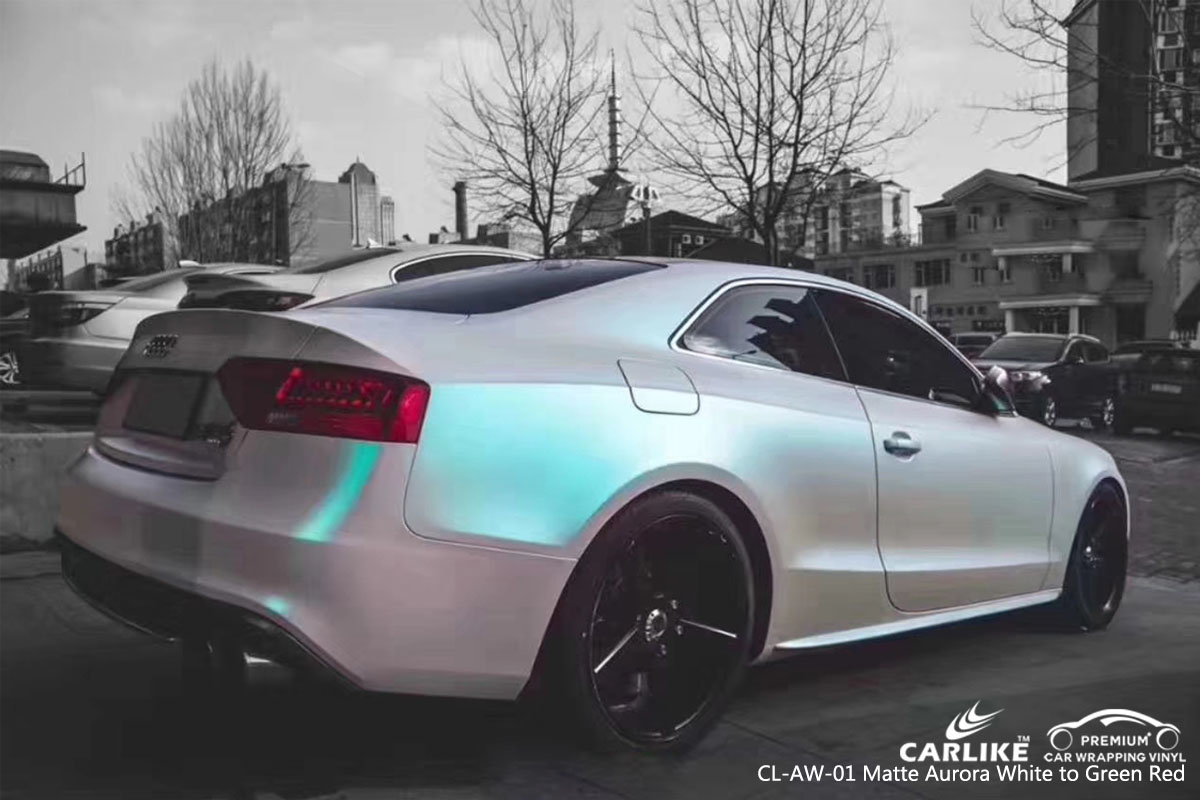 CARLIKE CL-AW-01 matte aurora white to green red car wrap vinyl for Audi