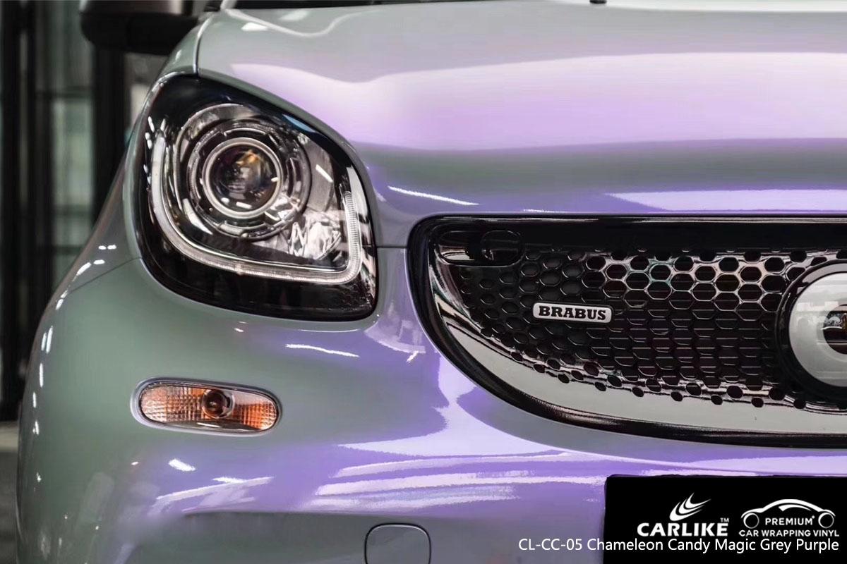 CARLIKE CL-CC-05 chameleon candy magic grey purple car wrap vinyl for Smart