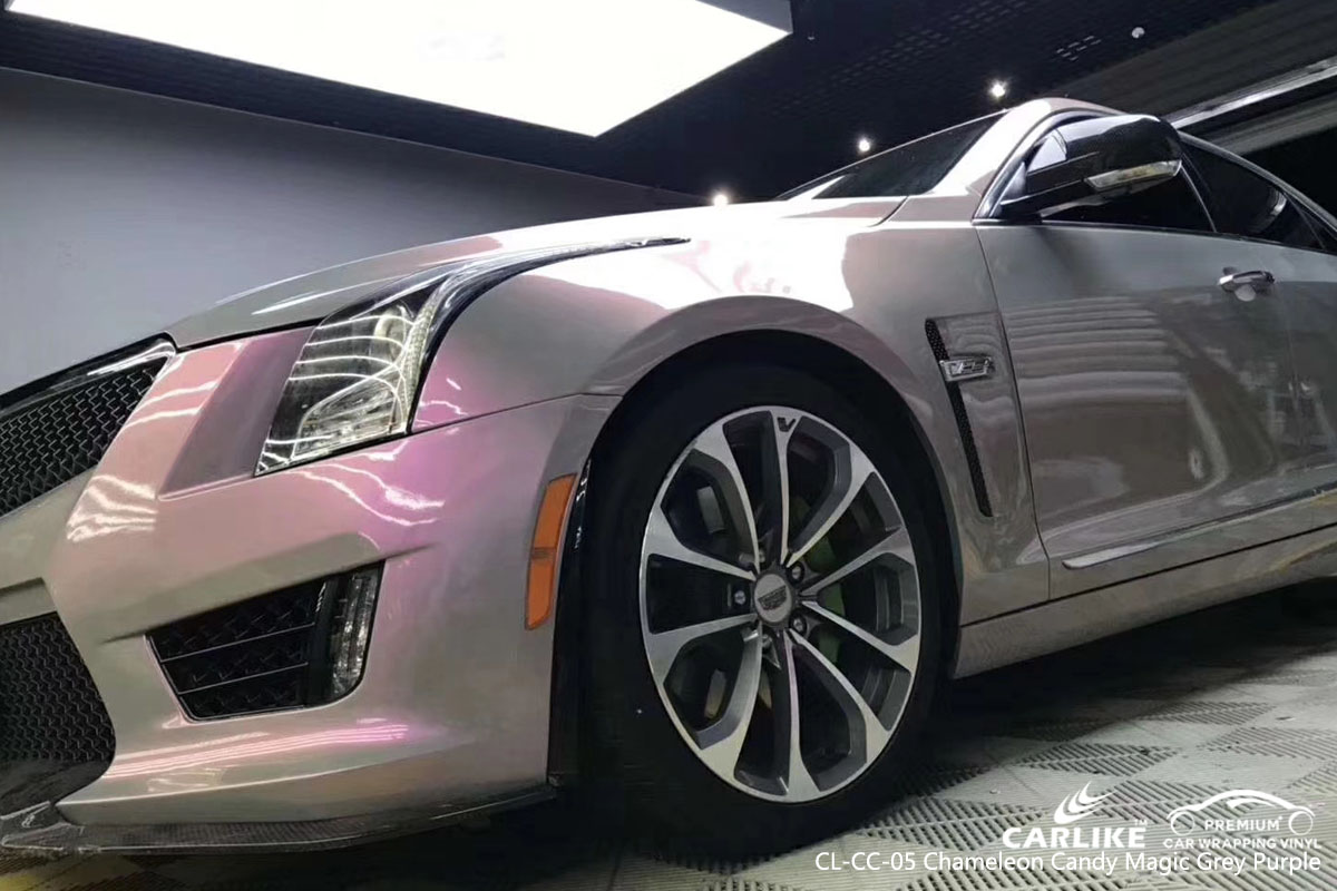 CARLIKE CL-CC-05 chameleon candy magic grey purple car wrap vinyl for Cadillac