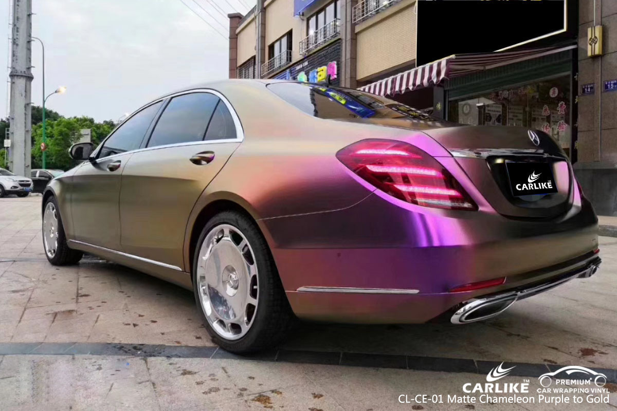 CARLIKE CL-CE-01 matte chameleon purple to gold car wrap vinyl for Mercedes-Benz