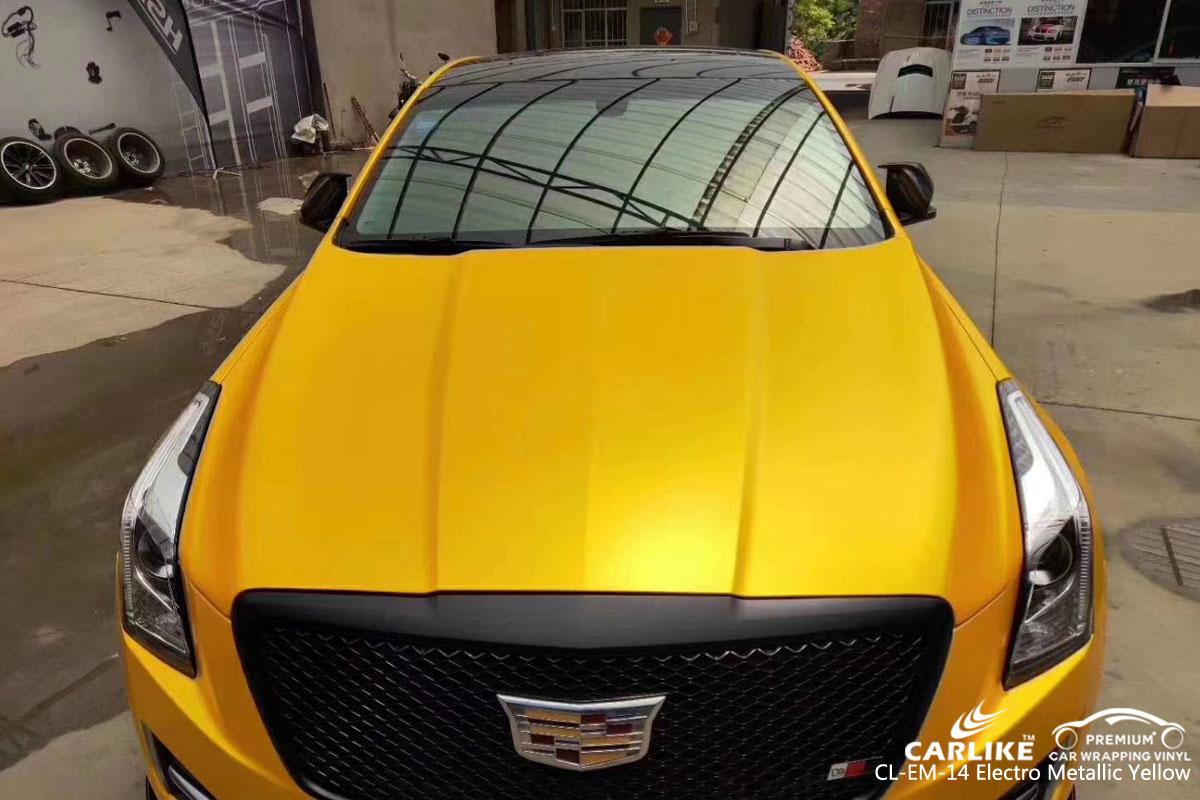 CARLIKE CL-EM-14 electro metallic metallic yellow car wrap vinyl for Cadillac