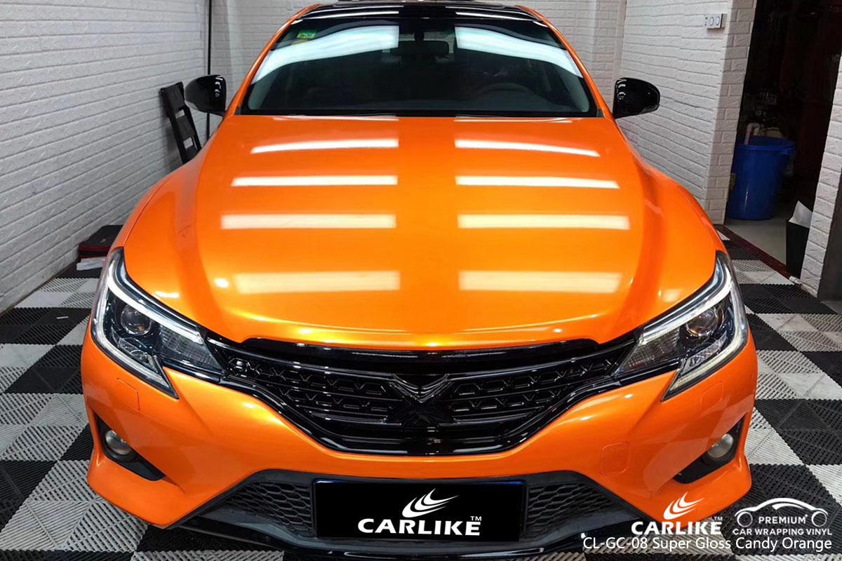 CARLIKE CL-GC-08 super gloss candy orange car wrap vinyl for Toyota