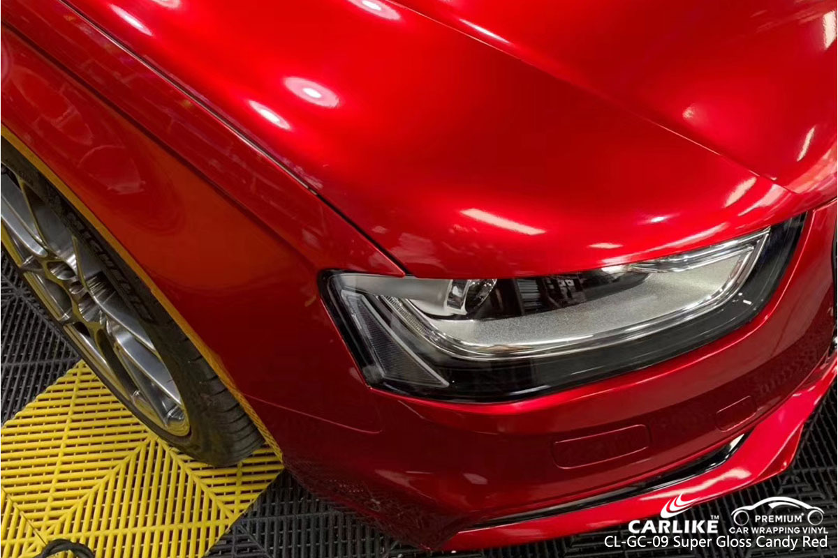 CARLIKE CL-GC-09 super gloss candy red car wrap vinyl for Audi