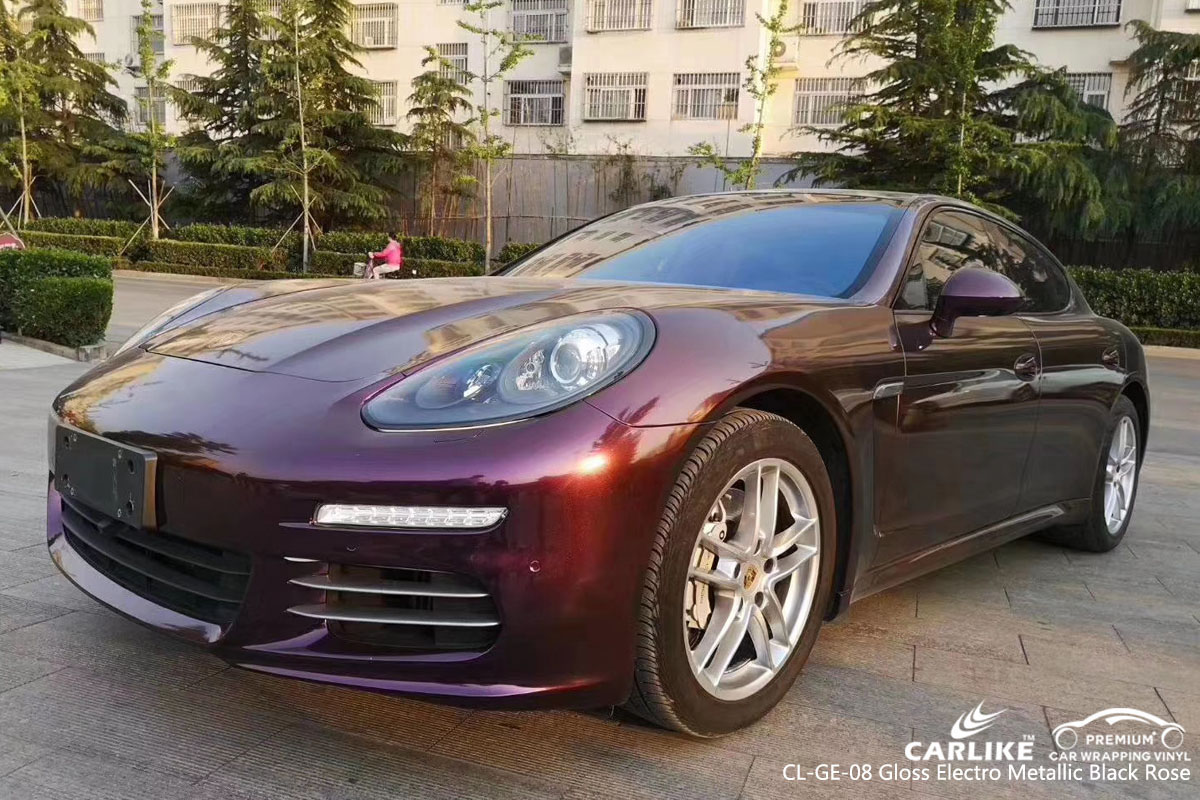 CARLIKE CL-GE-08 gloss electro metallic black rose car wrap vinyl for Porsche