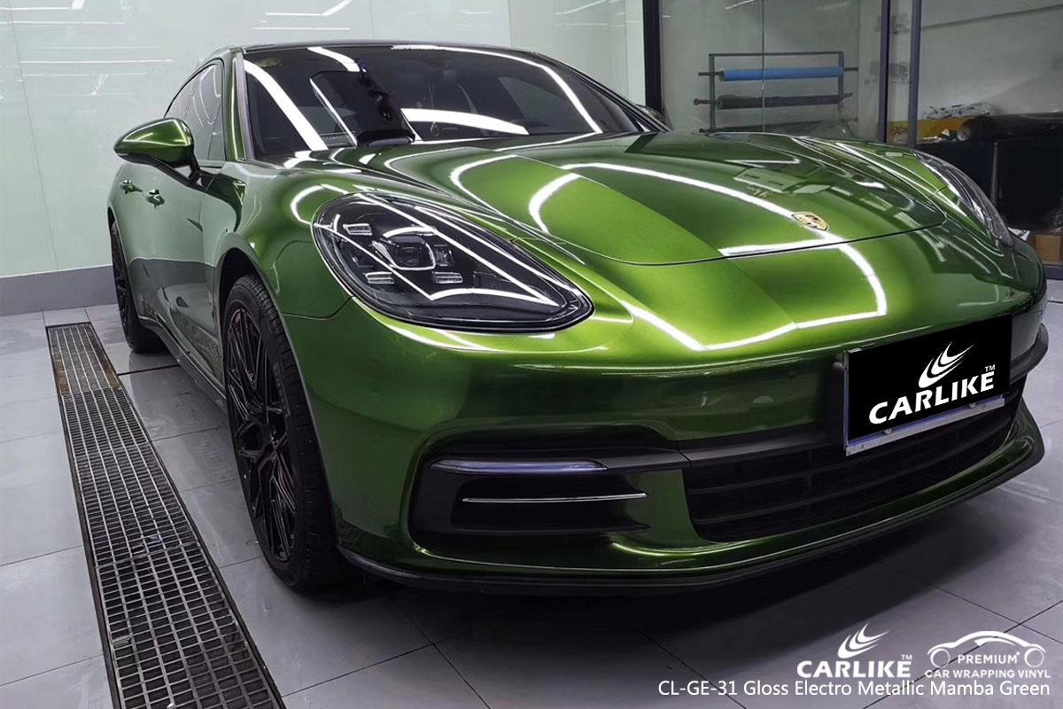 CARLIKE CL-GE-31 gloss electro metallic mamba green car wrap vinyl for Porsche