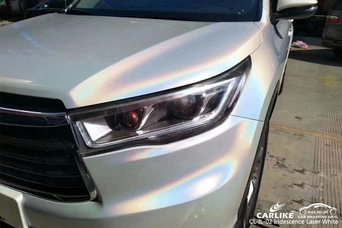 CARLIKE CL-IL-02 iridescence laser white car wrap vinyl for Toyota