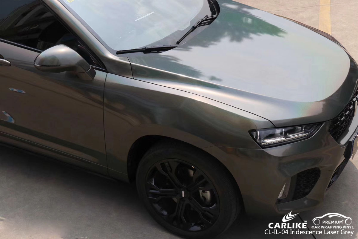CARLIKE CL-IL-04 iridescence laser grey car wrapping vinyl for Wey