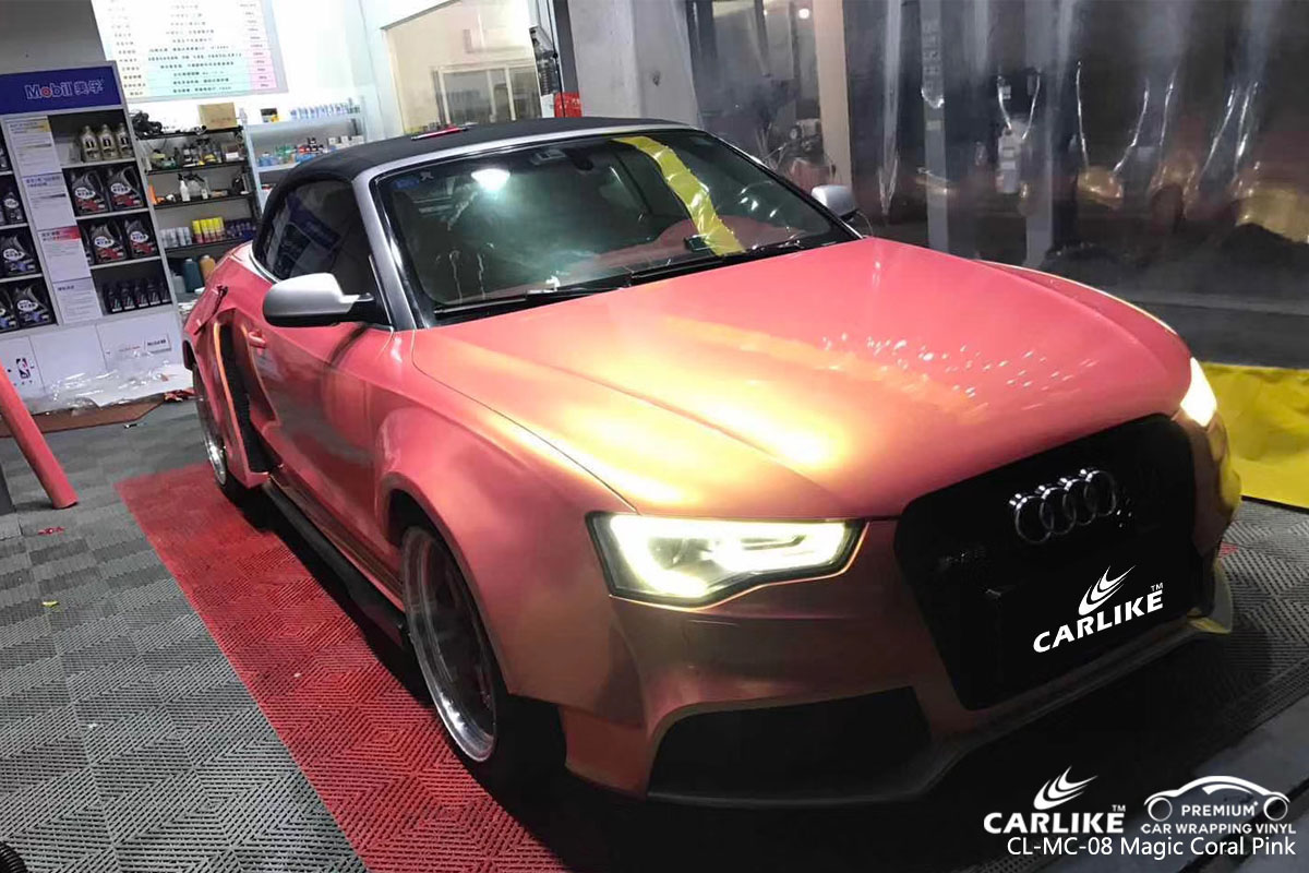 CARLIKE CL-MC-08 magic coral pink car wrapping vinyl for Audi