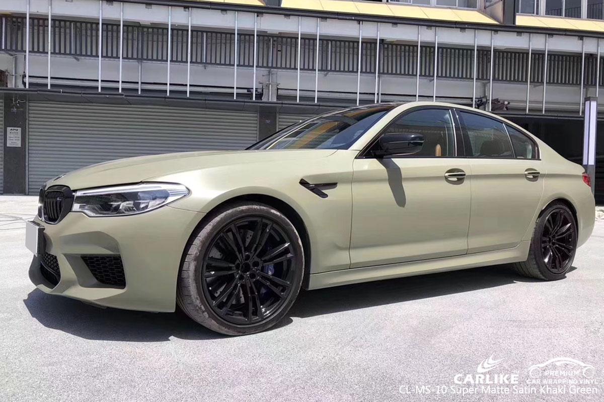 Matte Black BMW >> CL-MS-10 super matte satin khaki green car wrap vinyl for BMW | SINO VINYL