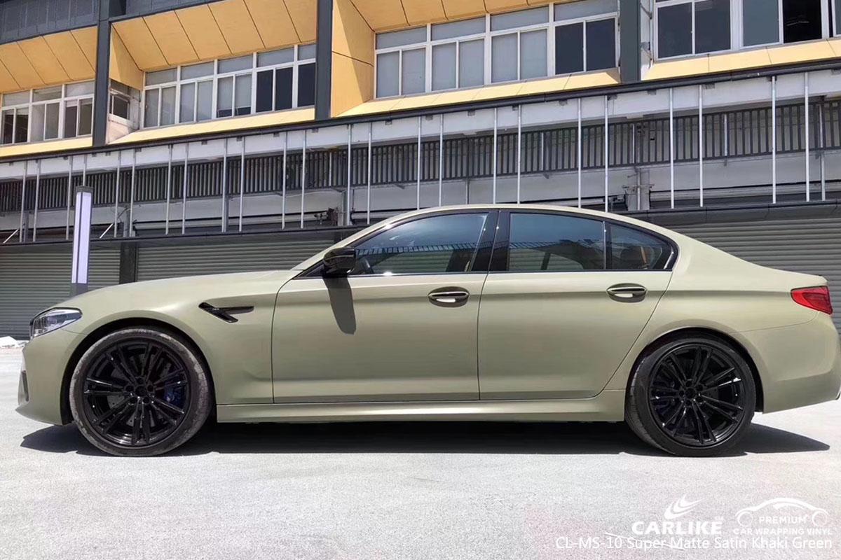 CARLIKE CL-MS-10 super matte satin khaki green car wrap vinyl for BMW