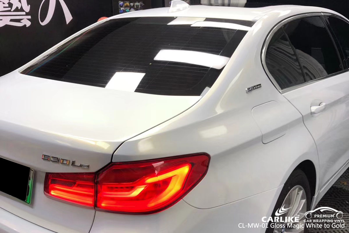 CARLIKE CL-MW-01 gloss magic white to gold car wrapping vinyl for BMW