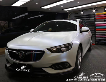 CARLIKE CL-MW-07 matte magic white to blue car wrap vinyl for Maserati
