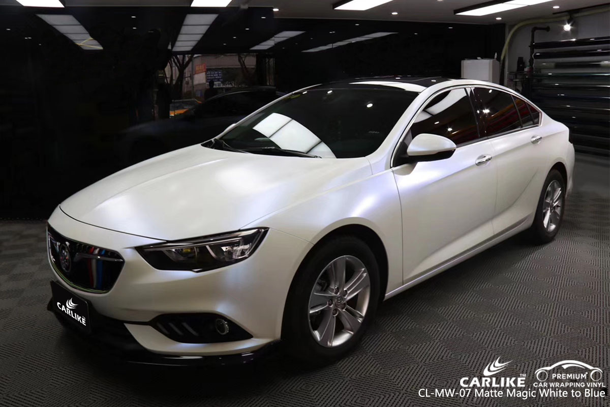CARLIKE CL-MW-07 matte magic white to blue car wrap vinyl for Buick