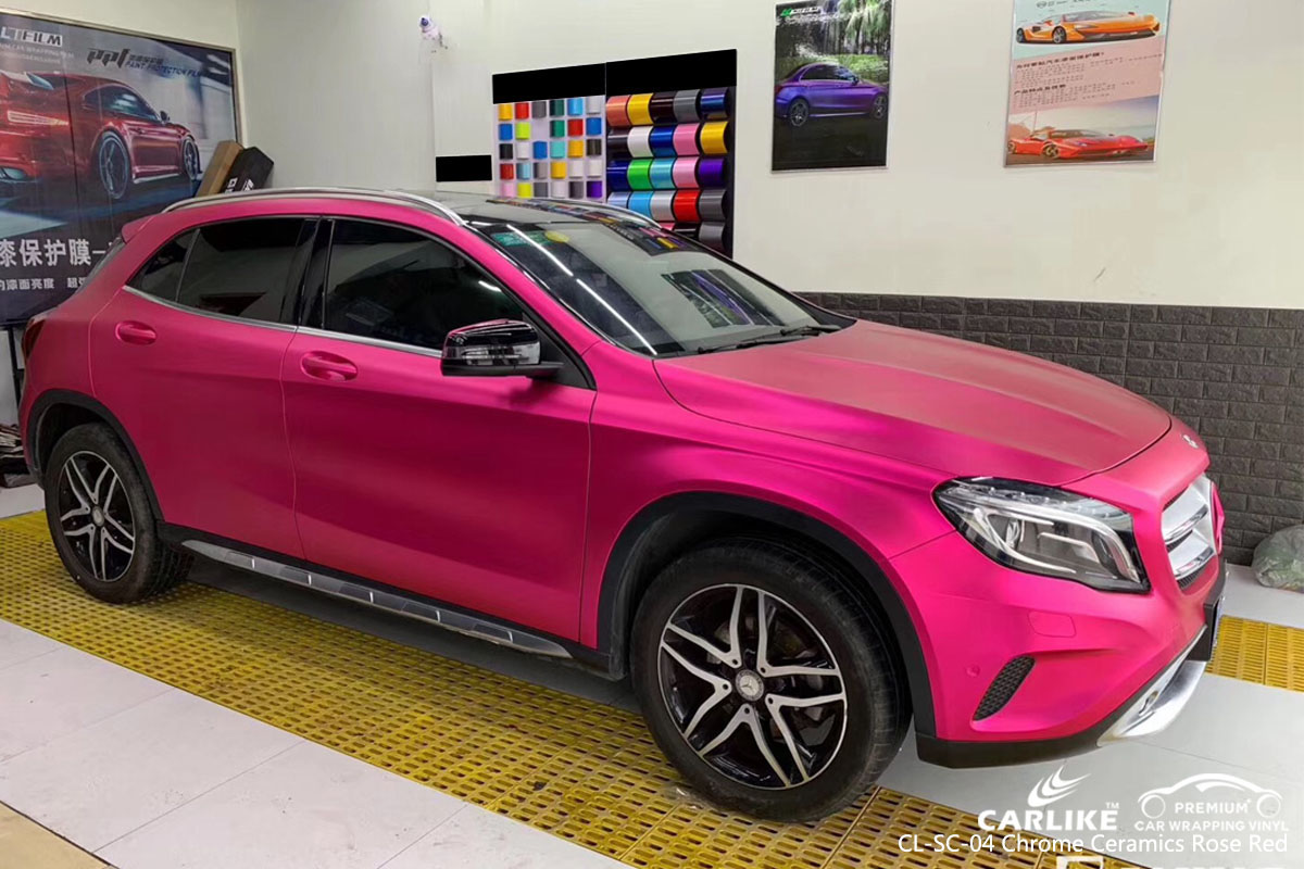 CARLIKE CL-SC-04 chrome ceramics rose red car wrap vinyl for Mercedes-Benz