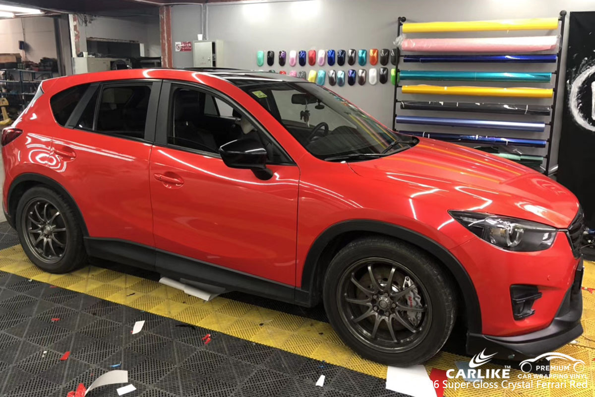 CARLIKE CL-SV-06 super gloss crystal ferrari red car wrap vinyl