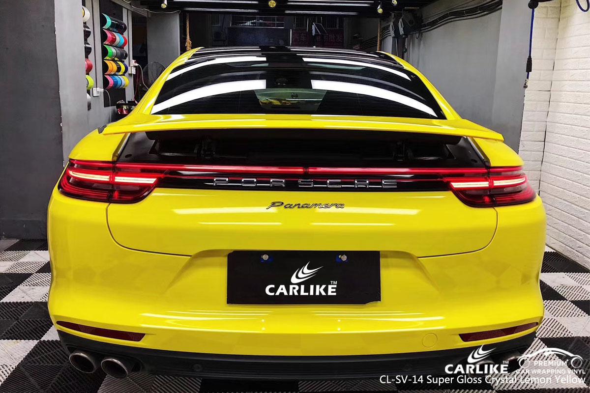 CARLIKE CL-SV-14 super gloss crystal lemon yellow car wrap vinyl for Porsche